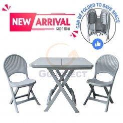 [BUNDLE] Foldable Garden Set (Foldable Table 654 + Foldable Chair 470 2 units)